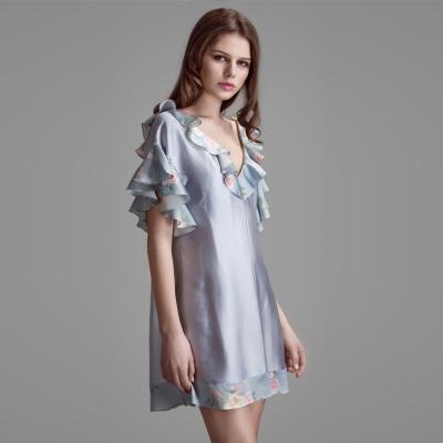 Aurora Alba马卡龙灰蓝睡裙女真丝印花拼接浪漫层叠扉边性感短裙