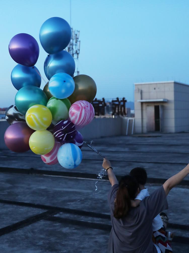彩色加厚玛瑙花纹气球儿童生日派对装扮用品布置装扮婚礼拍照道具