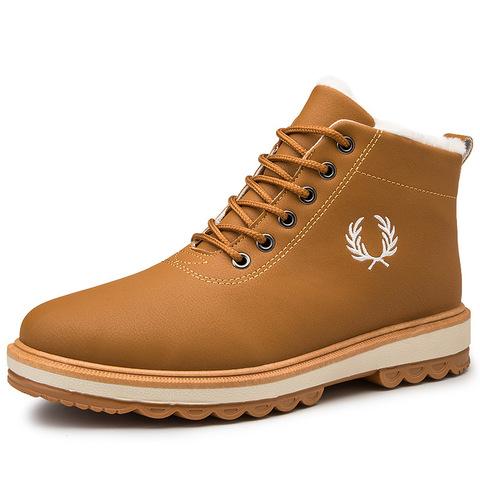 男士棉鞋子冬季保暖加绒加厚青少年休闲雪地鞋高帮马丁靴防水防滑