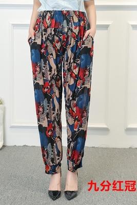 Trung niên và cũ mỏng băng lụa mẹ váy in đèn lồng quần đàn hồi eo mặc quần âu chín quần mùa hè