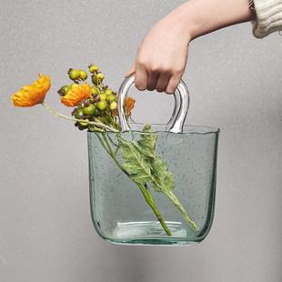 Нордический прозрачное стекло мешки ваза украшение сеть руки корзина творческий Легкая роскошь гостиная Аквакультура цветочная композиция декоративный Вкус