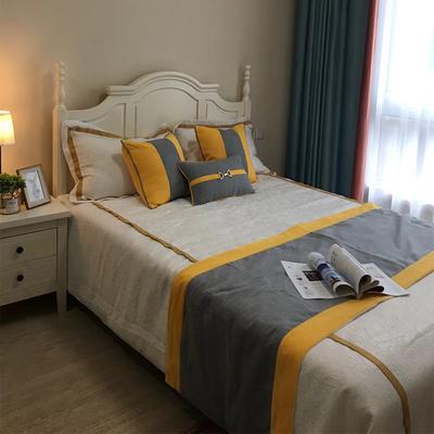 现代床品简约实木样板房床品多件套样板间展厅卖场床上用品黄灰系