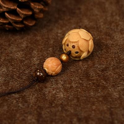 「佛泽。梵乐」风化菩提根雕莲花。金海柳。小挂件钥匙扣┆Y13