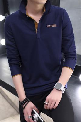 Mùa thu người đàn ông mới của dài tay leader T-Shirt cotton slim ve áo polo áo sơ mi kinh doanh bình thường cổ áo sơ mi áo thun 3 lỗ nam Áo phông dài