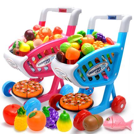儿童过家家购物车玩具超市灯光音乐宝宝大号手推车蔬菜水果切切乐
