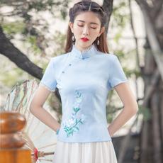 6193#中式女复古上衣中国风棉麻旗袍茶服汉服夏装女改良唐装民国
