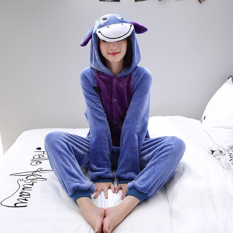 恐龙动物连体睡衣卡通可爱情侣秋冬季女成人法兰绒男珊瑚绒家居服