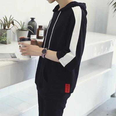 Mùa hè đội mũ trùm đầu ngắn tay áo len nam Hàn Quốc phiên bản 7 bảy điểm tay áo thể thao lỏng lẻo quần áo xu hướng người đàn ông hoang dã của quần áo mới