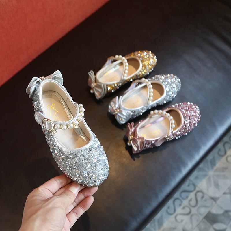 2018秋季新款亮片女童公主鞋水钻女孩水晶鞋学生鞋表演闪亮跳舞鞋