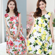 [Đặc biệt hàng ngày] mùa hè bông lụa đồ ngủ phụ nữ bông nhân tạo bông mẹ nightdress trung niên bông lụa dịch vụ nhà