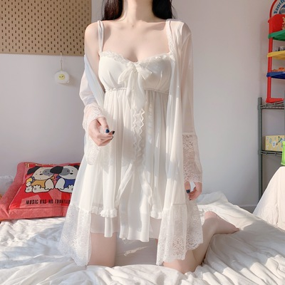 taobao agent 2021 summer new style Japanese soft girl palace princess style thin suspender nightdress home service pajamas two-piece female