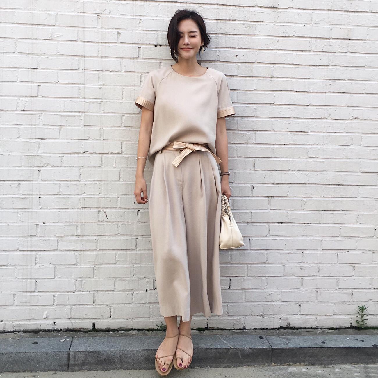 ◆ ASM ◆ 2018 mùa hè mới rắn màu khí quanh cổ áo sơ mi ngắn tay thời trang rộng chân quần hai mảnh phù hợp với nữ