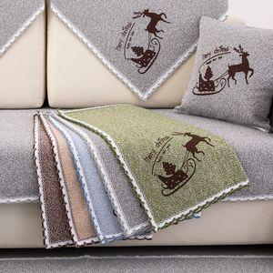 亚麻四季通用棉麻沙发垫防滑布艺沙发套夏季通用简约沙发巾坐垫套