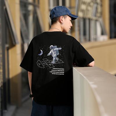 DUMB日系夏季2020太空人印花短袖潮流街头复古百搭T恤宽松男上衣,免费领取10元淘宝优惠卷