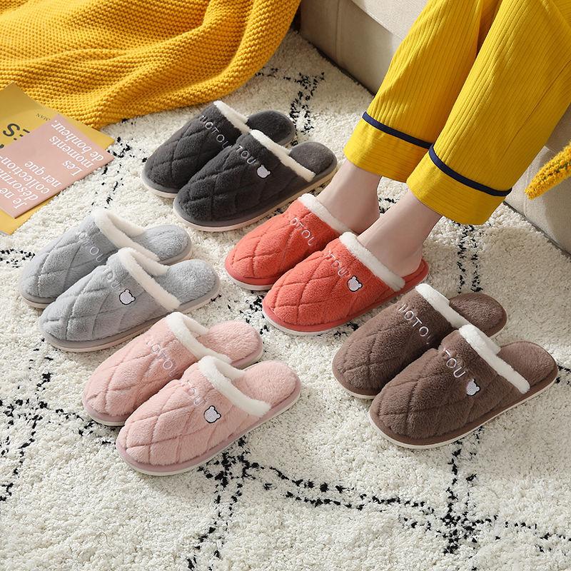 棉拖鞋女冬情侣居■家包跟厚底防滑保暖月子鞋室内家用毛毛拖鞋男