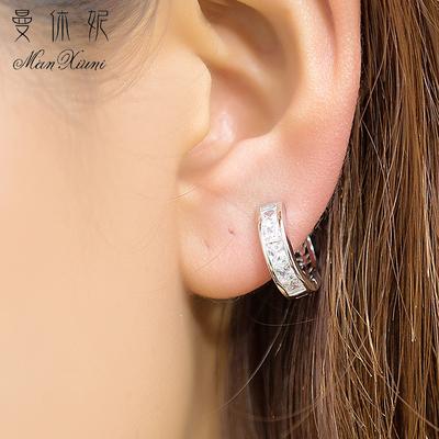 曼休妮s925纯银耳扣女 气质韩国甜美时尚彩色锆石耳圈耳饰防过敏