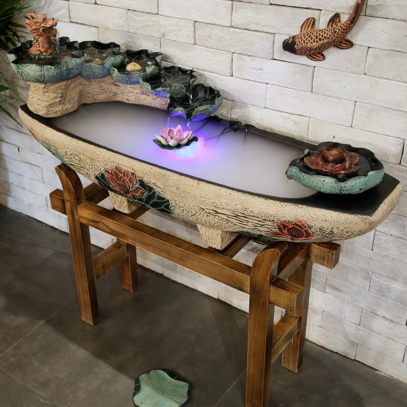 Mở quà tặng non bộ đài phun nước trang trí sàn cảnh nước phòng khách may mắn phong thủy hồ cá sáng tạo tạo độ ẩm