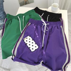 Ins quần short nữ sinh viên mùa hè thời trang giản dị thể thao hoang dã dệt năm điểm phụ nữ quần 2018 mới là mỏng