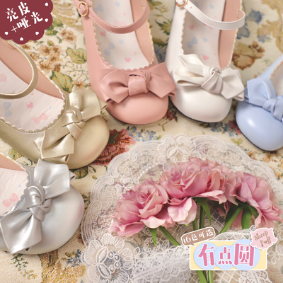 taobao agent 【Spot goods】A little round shiny leather/matte sheep puff lolita girl cute round toe bow women's shoes