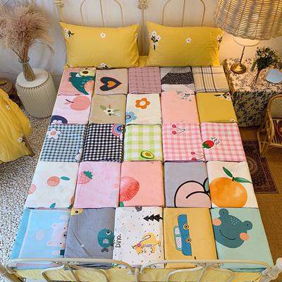 彩虹格子四件套全棉纯棉时尚少女心小清新床上用品三件套床单被套