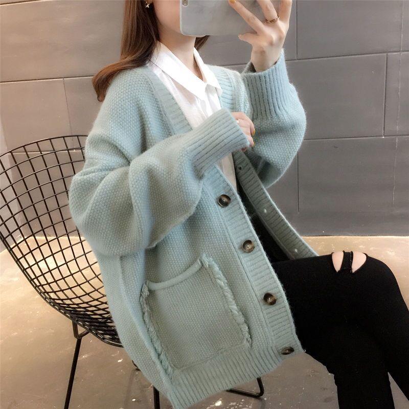 针织开衫毛衣外套女网红慵懒风宽松上衣春秋装2021新款女时尚韩版