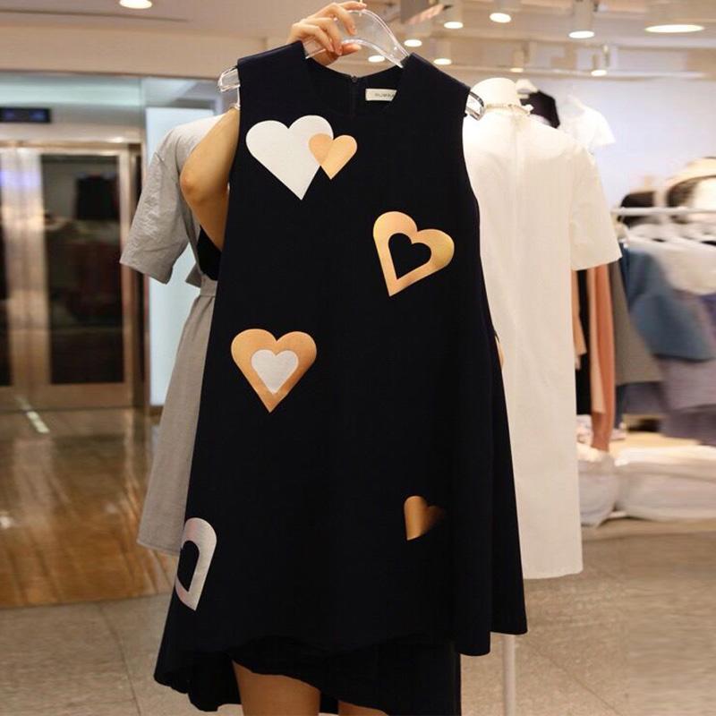 2018 mùa hè mới tình yêu in ấn Một phông chữ trong dài tay áo của phụ nữ thời trang giản dị Hồng Kông váy