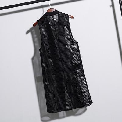 2018 mùa hè Hàn Quốc phiên bản của phù hợp với ve áo rỗng vest cardigan màu rắn dài lỏng lỏng lẻo mỏng áo vest nữ triều Áo vest