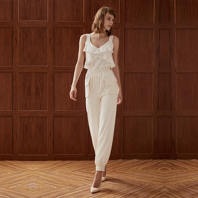 白色双口袋粉色缝线运动裤 FLONAKED