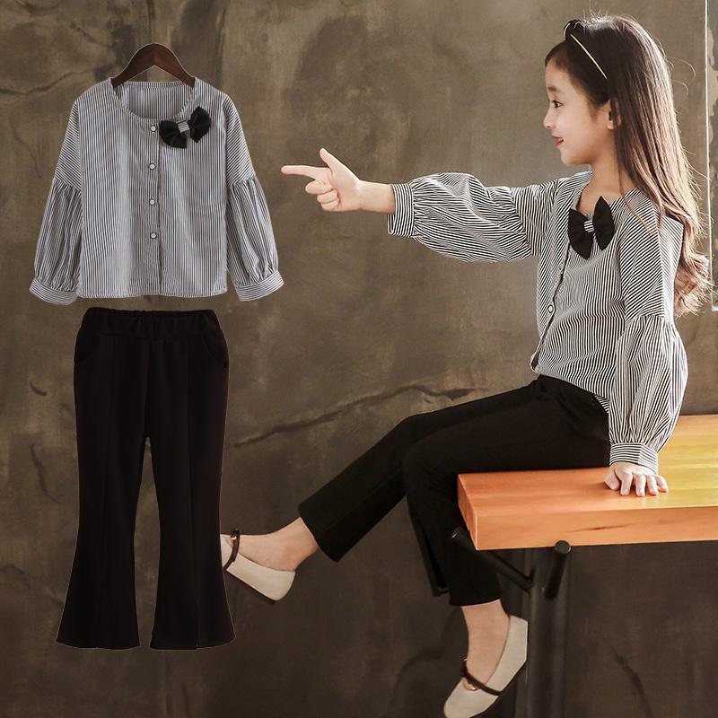 女童秋装套装韩版洋气春秋装2019新款儿童小女孩喇叭裤两件套长袖