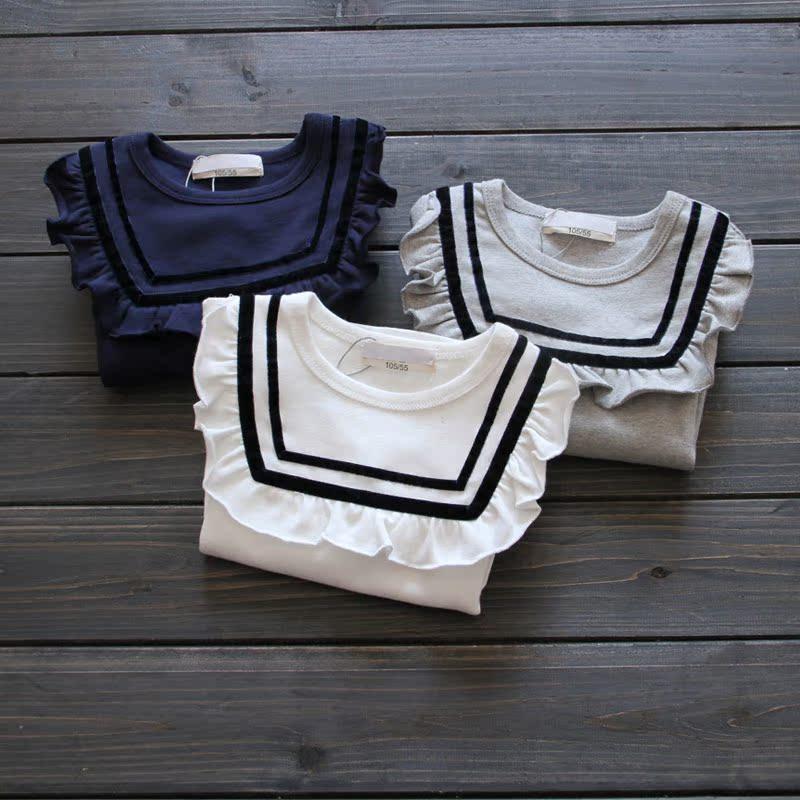 Nhỏ và vừa quần áo trẻ em 018 mùa xuân và mùa hè cô gái mới hải quân gió dài tay T-Shirt trẻ em xù cổ áo bông búp bê áo sơ mi