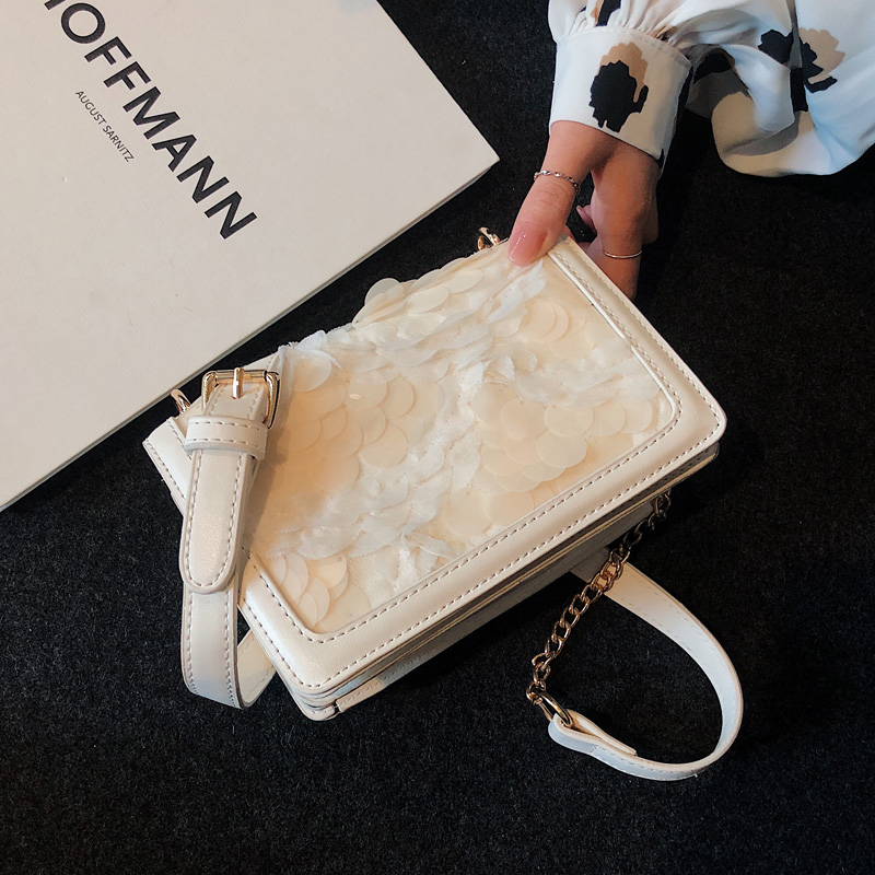 高级感小包包女新款潮洋气亮片链条小方包仙女百搭单肩斜挎包