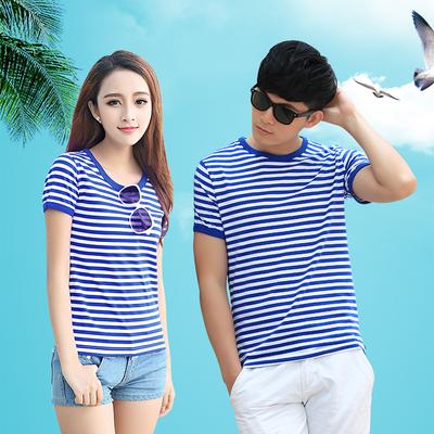Mùa hè biển linh hồn áo sơ mi nam ngắn tay t-shirt hải quân tùy chỉnh phù hợp với phong cách hải quân cotton nửa tay màu xanh và trắng sọc những người yêu thích Áo khoác đôi