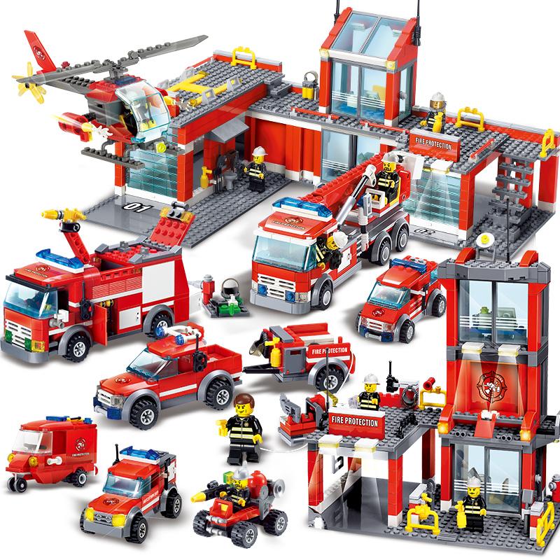 兼容乐高积木军事拼装开智儿童玩具警察局消防工程城市系列男孩