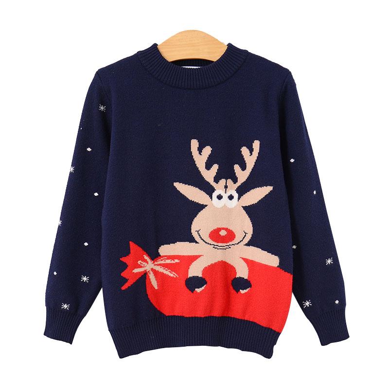 新款秋冬男女童双层毛衣加厚毛衣圣诞女童毛衣套头公主范毛衣透气