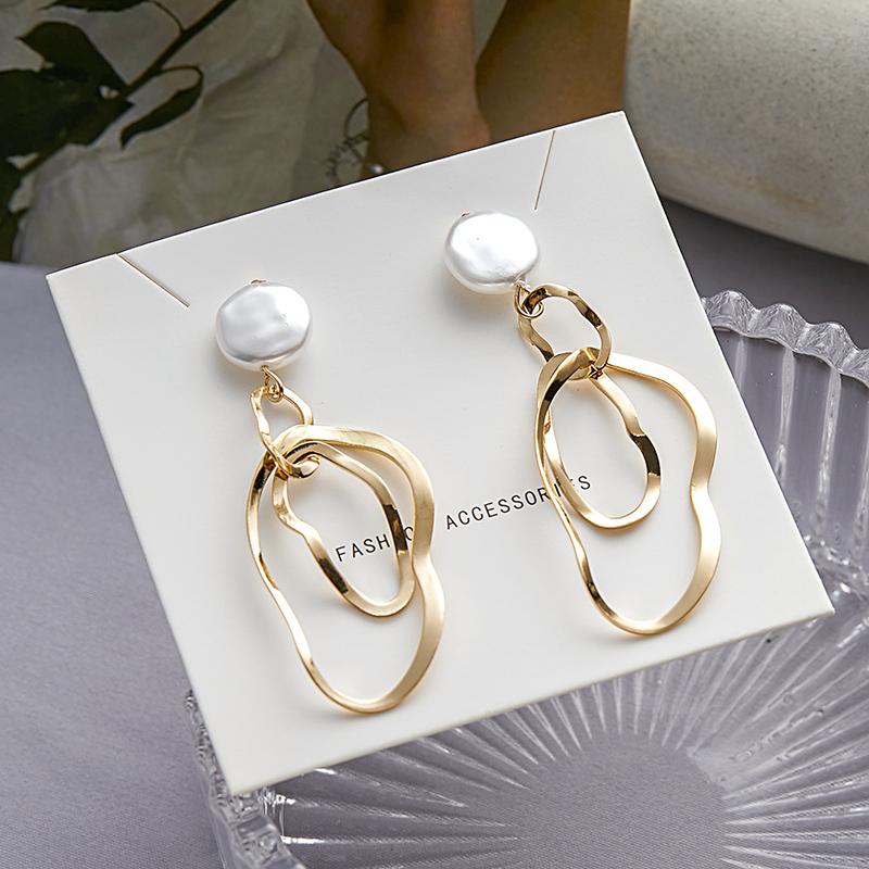 欧美范简约金属几何不规则图形耳环长款气质圆形贝壳耳钉耳饰女潮