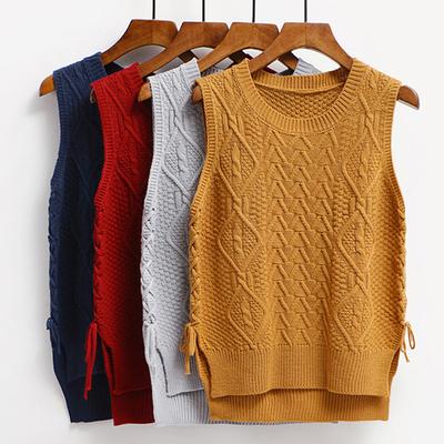 2018 mùa xuân và mùa thu áo len vest nữ Hàn Quốc phiên bản của lỏng chia trường gió trùm đầu không tay áo len nữ sinh viên vest