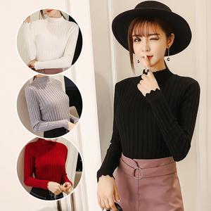 实拍 2018秋冬新款韩版长袖针织衫女套头修身圆领打底休闲毛衣上