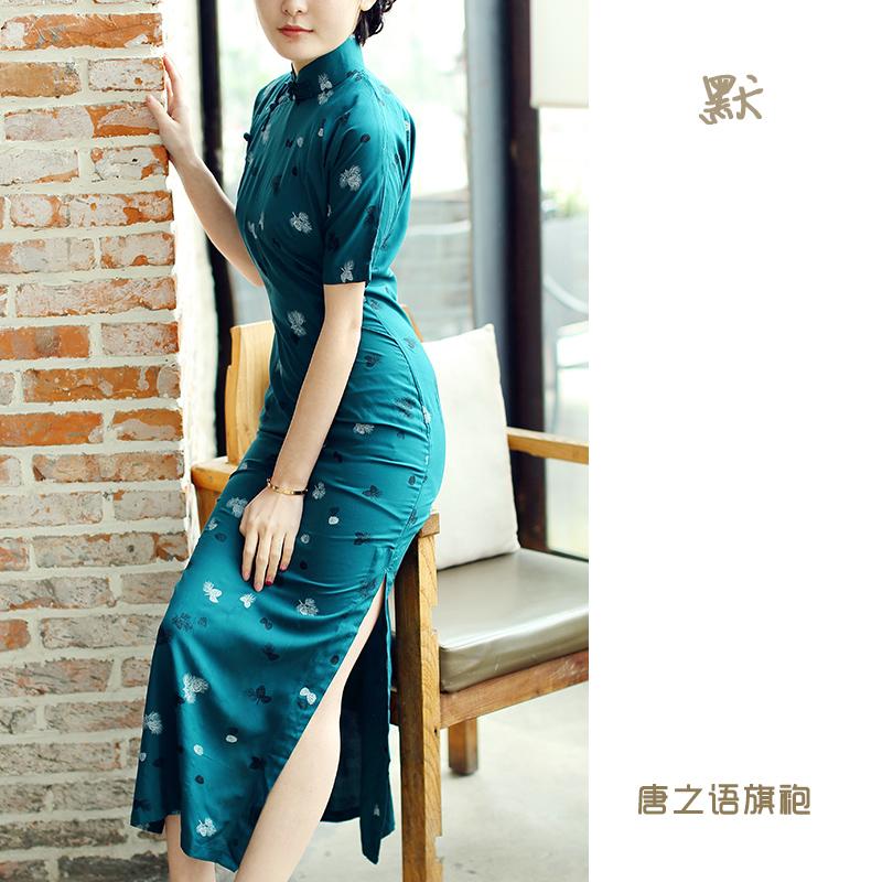 唐之语复古花样年华四分连袖老上海正宗传统中长款印花绵绸旗袍默