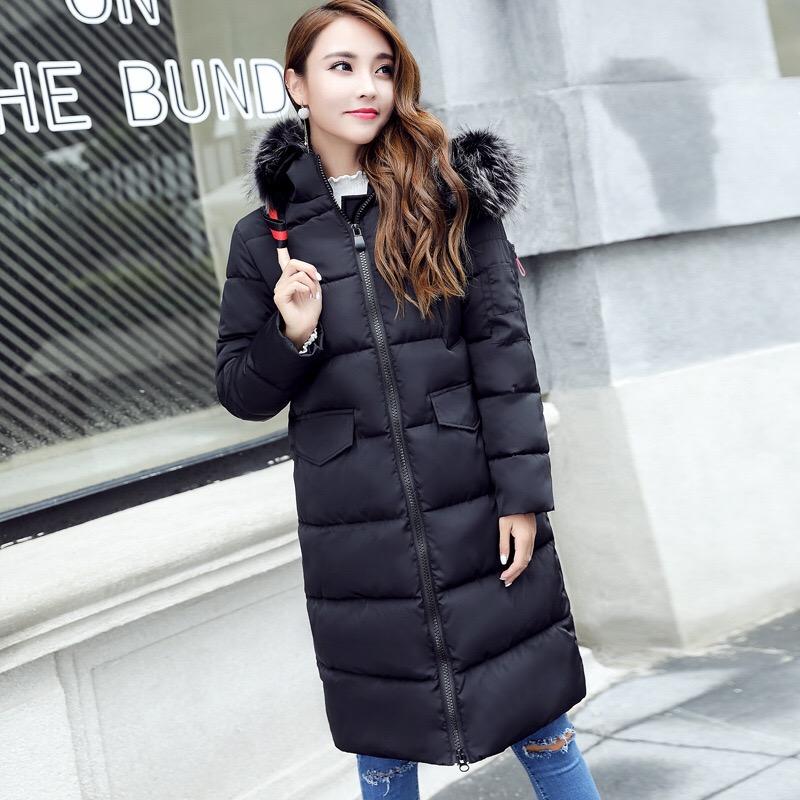 中长款及膝连帽毛领棉衣女时尚修身显瘦棉服一件代发冬装保暖外套