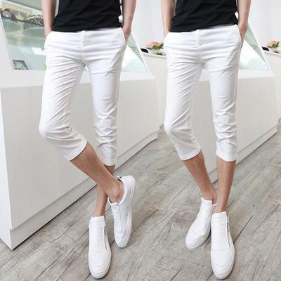 Cắt quần nam mùa hè Hàn Quốc phiên bản của bàn chân nhỏ quần âu người đàn ông Mỏng của 7 điểm quần quần short nam mùa hè quần trắng