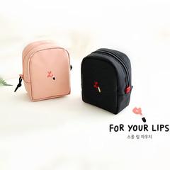 韩国迷你化妆包小号便携防水口红收纳包少女心简约手拿小方包随身