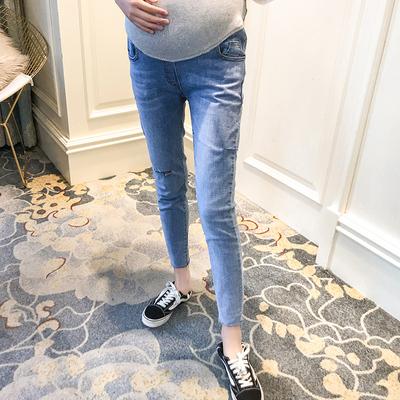 孕妇牛仔裤夏季时尚款新款高腰显瘦小脚裤怀孕期3-9个月长裤