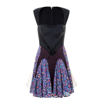 BettyChow tường nứt đề nghị! Kim loại sang trọng móng tay vải đặc biệt khâu vai đầm màu tím váy đầm