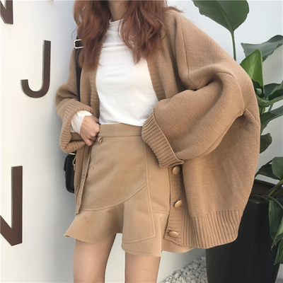 秋冬女装BF风宽松针织衫开衫上衣学生慵懒风长袖休闲毛衣外套