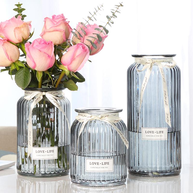 【三件套】玻璃花瓶彩色透明水培富贵竹百合鲜花花瓶客厅插花摆件