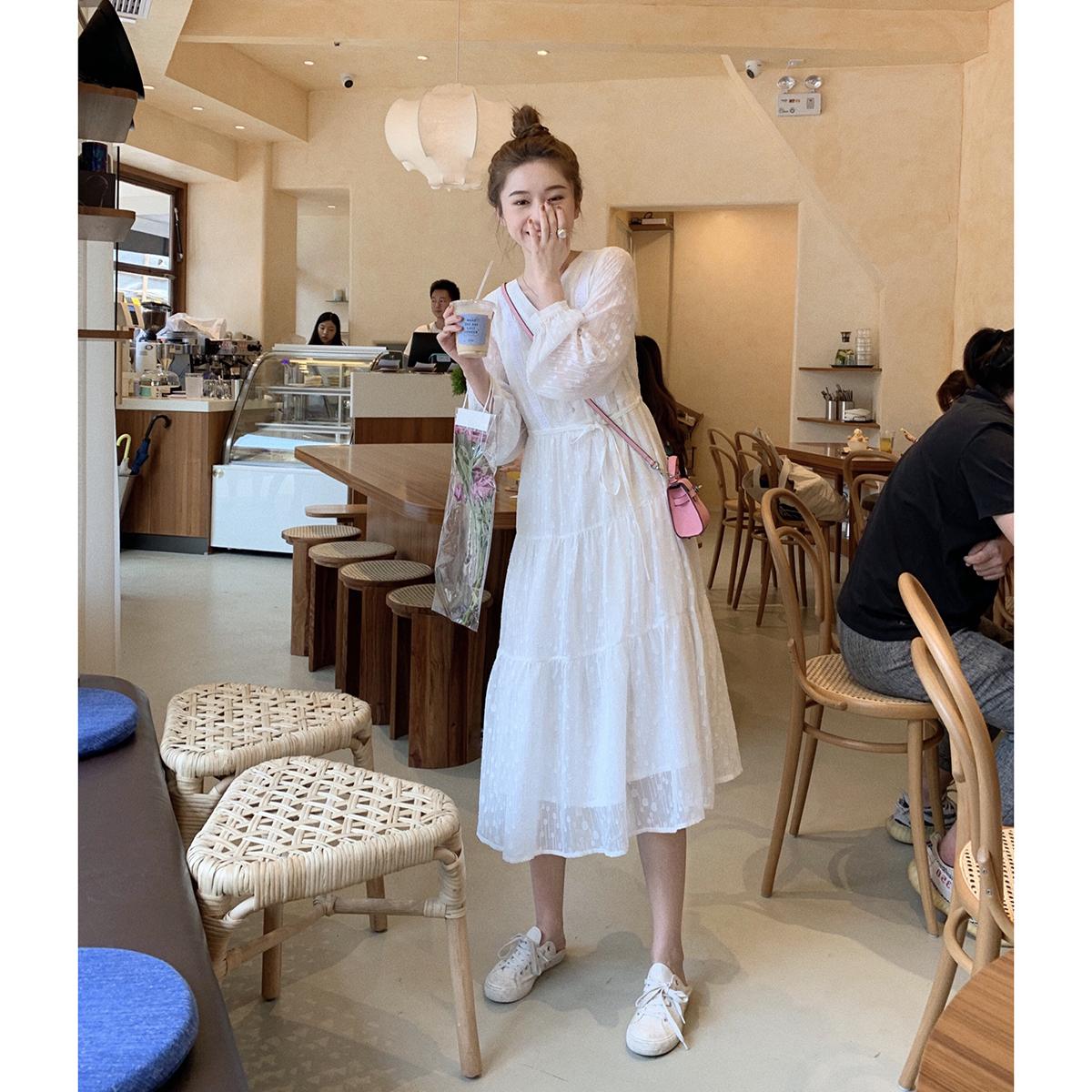 Толстый король панель белый Сказочное платье женское осень 2019 длинный рукав Супер фея талия прогрессивный Струящееся платье