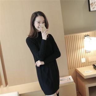 加绒秋冬女装韩版宽松中长款套头毛衣