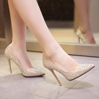 Светло цвет на высоком каблуке Женская шпилька с острым носом белый Свадебные туфли туфли Дикие женские свадебные туфли серебряный Обувь для подружки невесты