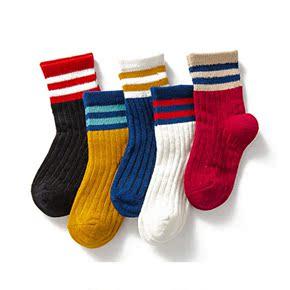 纯棉秋冬款加厚儿童袜子5双装