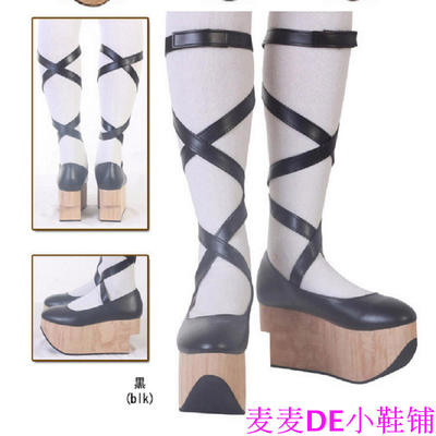 42agent Japanese 8 cm thick bottom wood grain muffin bottom strap shoes Lolita cos Gothic shoes - Taobao